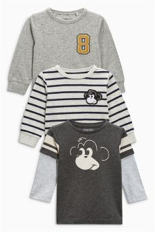 Long Sleeve Monkey T-Shirts Three Pack (3mths-6yrs)