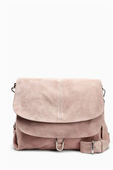 Suede Double Flap Across-The-Body Bag