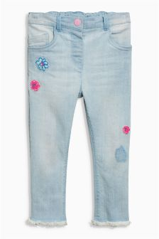 Flower Embellished Fray Hem Jeans (3mths-6yrs)