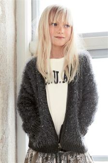 Sequin Fluffy Bomber Jacket (3-16yrs)