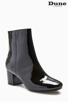Dune Pebble Black Patent Heeled Ankle Boot