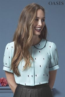 Oasis Heart Print Collar Top