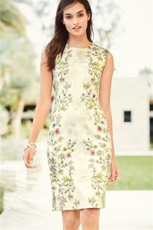 Cream Floral Bodycon Dress
