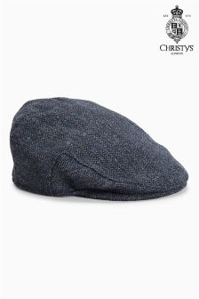 Christys London Navy Herringbone Flat Cap