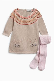 Fairisle Pattern Cat Dress And Tights Set (0mths-2yrs)