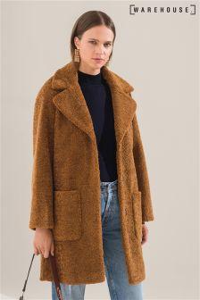 Warehouse Tan Teddy Faux Fur Coat