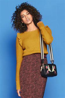 Textured Ruffle Sweater