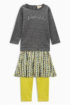 Top, Leggings And Skirt Set (3mths-6yrs)