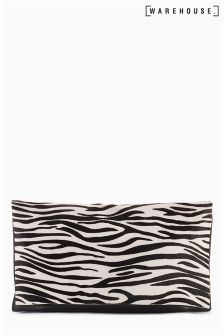 Warehouse Zebra Pony Skin Clutch Bag