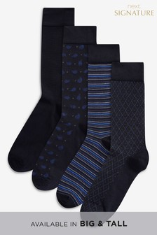 Bamboo Navy Mixed Pattern Socks Four Pack