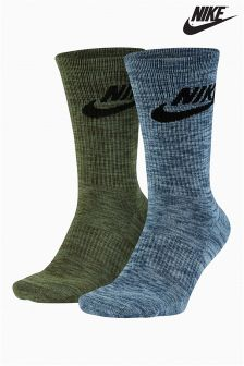 Nike Green/Grey Advance Crew Socks Two Pack