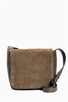 Leather And Suede Across-The-Body Bag