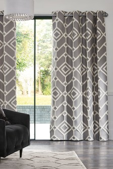 Lattice Geo Jacquard Eyelet Curtains