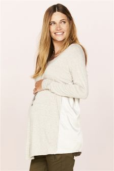 Maternity Fabric Mix Long Sleeve Tee