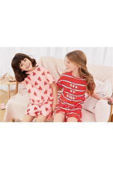 Heart And Stripe Short Pyjamas Two Pack (3-16yrs)
