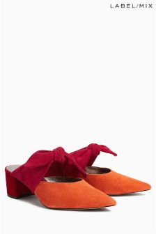 Mix/Isa Arfen Orange/Pink Colourblock Bow Mule