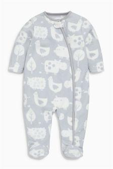 Animal Print Fleece Sleepsuit (0-18mths)