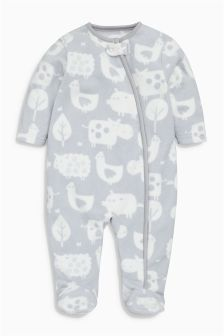 Animal Print Fleece Sleepsuit (0-18mths)