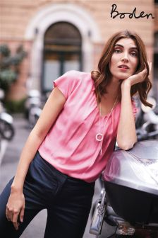 Boden Pink V Neck Ravello Top