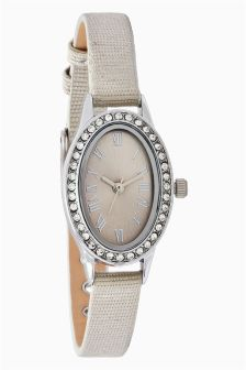 Embellished Strap Oval Watch