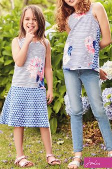 Joules Chalk Posy Stripe Patsy Jersey Dress