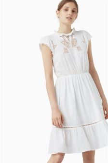 Mango White Embroidered Dress