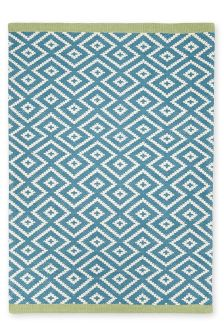 Wool Teal Diamond Geo Rug