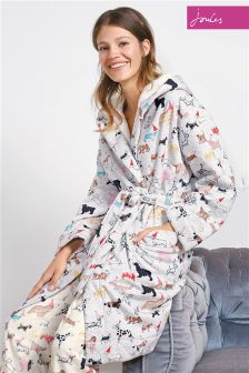 Joules Idlewhite Fleeced Lined Dressing Gown
