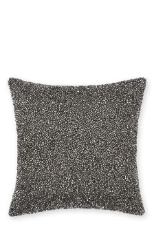 Grey Beaded Cushion