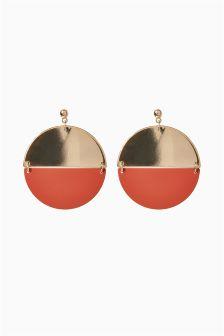Large Split Disc Drop Earrings