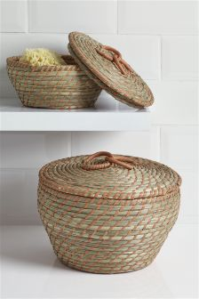 Set Of 2 Bright Woven Storage Baskets