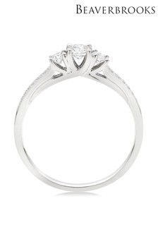 Beaverbrooks 18ct White Gold Three Stone Diamond Ring