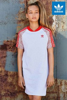 adidas Originals White/Red Lace Print Dress