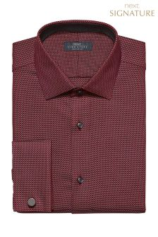 Signature Birdseye Design Slim Fit Double Cuff Shirt