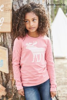 Abercrombie & Fitch Light Pink Moose Long Sleeve T-Shirt