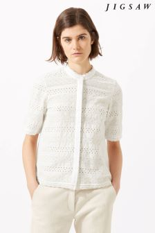 Jigsaw White Broderie Cotton Shirt