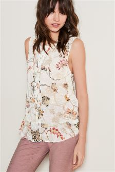 Sleeveless Ruffle Hem Blouse