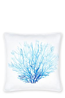 Blue Coral Print Cushion