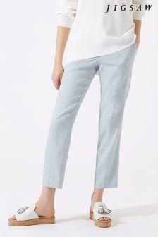 Jigsaw Grey Portofino Linen Trouser