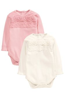 Lace Trim Bodies 2 Pack (0mths-2yrs)