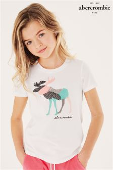Abercrombie & Fitch White Moose Print T-Shirt