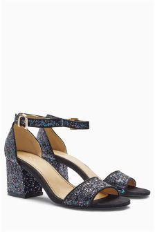 Glitter Low Block Heel Sandals