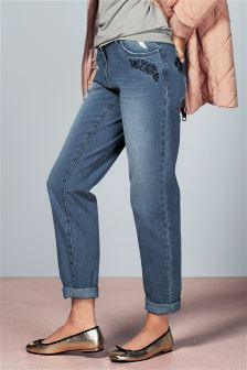Embroidered Flower Relaxed Jeans