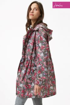 Joules Golightly Print Grey Camo Floral Waterproof Jacket