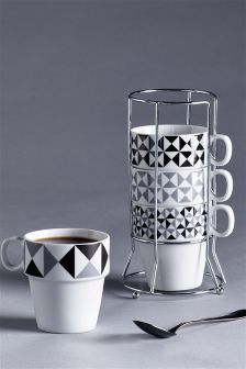 Set Of 4 Geo Stacking Mugs