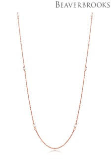 Beaverbrooks Silver Rose Gold Plated Synthetic Pearl Necklace