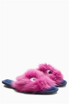 Faux Fur Monster Slider Slippers