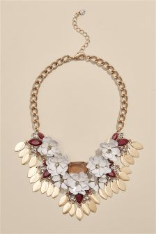 Floral Detail Statement Necklace