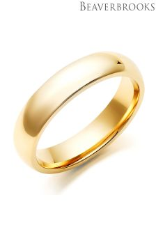 Beaverbrooks Mens 9ct Gold Court Wedding Ring