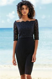 Navy Lace Pleat Dress